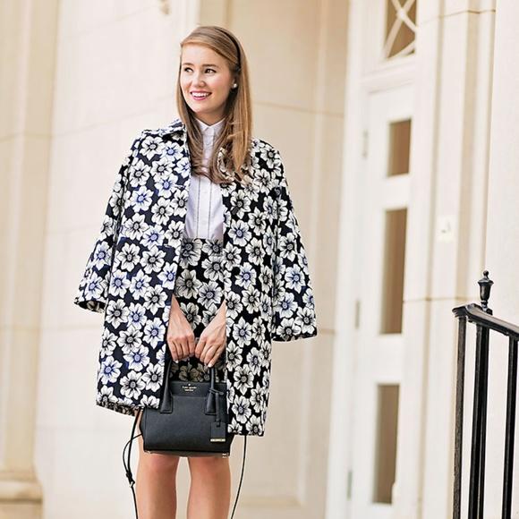kate spade Jackets & Blazers - Kate Spade hollyhock floral navy coat